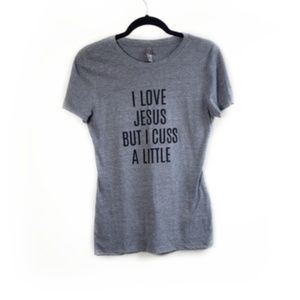 I Love Jesus But I Cuss Grey Heathered T-shirt